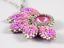 Náhrdelníky - Slnko - prívesok - ružová-biela-strieborná - 11515010_