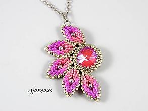 Náhrdelníky - Slnko - prívesok - ružová-biela-strieborná - 11515009_