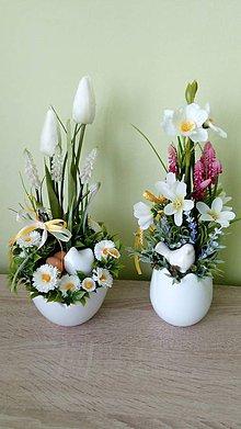 Dekorácie - Jarna dekoracia v keramickom tulipane - 11512946_