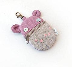 Kľúčenky - Kapsička na slúchadlá Zvieratko vyšívané staroružové - 11513300_