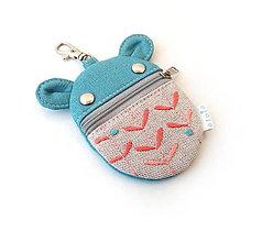 Kľúčenky - Kapsička na slúchadlá Zvieratko vyšívané tyrkysové - 11513354_