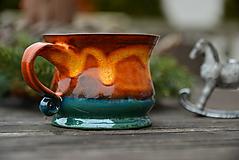 Nádoby - Veľká šálka na čaj (9 x 7cm , 200ml - Oranžová) - 11513937_