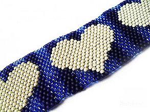 Náramky - Srdiečkový modrý náramok - 11515703_