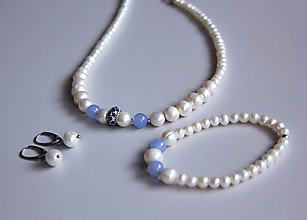 Sady šperkov - Luxusná sada - sladkovodné riečne perly, achát - 11518068_