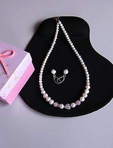 Sady šperkov - Luxusná sada l.- sladkovodné riečne perly, ruženín - 11518214_