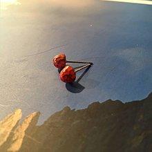 Náušnice - Červené drievka - 11515614_