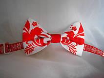 """Doplnky - FLORAL FOLK """"Red & White"""", pánsky motýlik - 11515525_"""