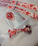 """Doplnky - FLORAL FOLK """"Red & White"""", pánsky motýlik - 11515566_"""