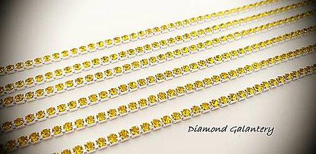 Komponenty - Štrasová retiazka 2 mm  - Cena za 10 centimetrov (Žltá) - 11516507_