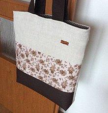 Nákupné tašky - prírodná taška s koženkou - 11515890_