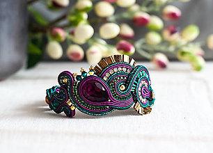 Náramky - Smaragdovo-fialový náramok so Swarovski kryštálmi - 11518445_