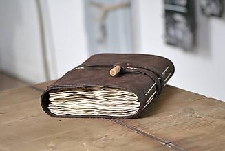 Papiernictvo - archaický kožený zápisník NJORD - 11517901_