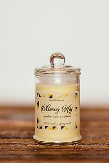 Svietidlá a sviečky - Vonná sviečka - 100 sójový + 100% včelí vosk - Olivový háj - 11515560_