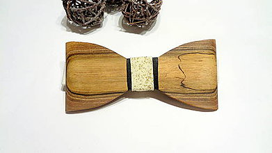 Doplnky - Pánsky drevený motýlik orech - zlatý prach - 11516988_