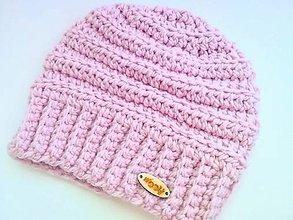 Čiapky - Háčkovaná čiapka ELIS (65% vlna & 35% alpaka) (púdrová ružová) - 11516554_