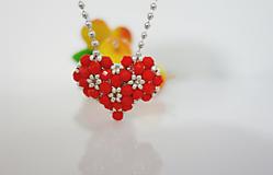 Náhrdelníky - Náhrdelník Červené srdce - 11516188_
