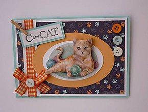Papiernictvo - Pohľadnica s 3D obrázkom mačky I. - 11519163_