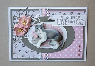 Papiernictvo - Pohľadnica s 3D obrázkom mačky II. - 11519177_
