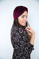 Čiapky - Zamatový turban (Bordová) - 11517203_