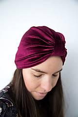 Čiapky - Zamatový turban (Bordová) - 11517204_