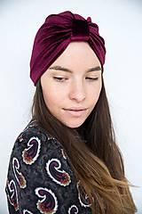Čiapky - Zamatový turban (Bordová) - 11517205_
