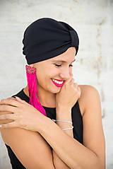 Čiapky - Čierny elegantný turban - 11517341_