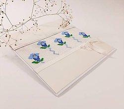 Papiernictvo - Encián II - vyšívaná folk pohľadnica - 11518232_
