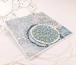 Papiernictvo - Nezábudka  III - vyšívaná folk pohľadnica - 11518840_