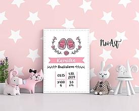 Detské doplnky - Tabuľka pre bábätko s údajmi o narodení topánočky - 11521043_
