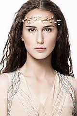 Ozdoby do vlasov - Mosadzná čelenka s achátom - Belasá jar - 11521456_