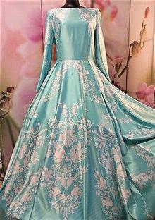 """Šaty - FLORAL FOLK """" Slovenská ornamentika """", spoločenské dlhé šaty (mentolová + biely akvarel) - 11519488_"""