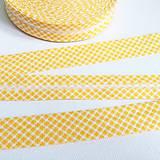 Galantéria - bavlnený šikmý prúžok Žlté káro - 11520185_