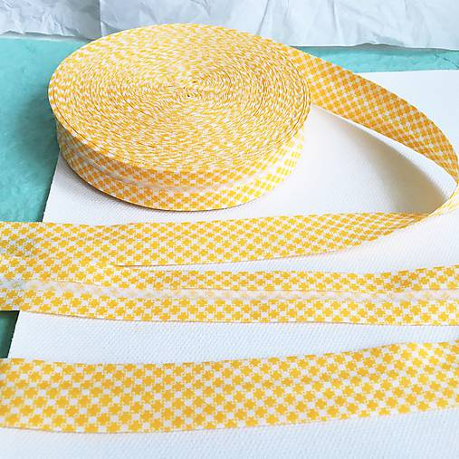 bavlnený šikmý prúžok Žlté káro