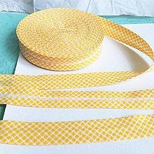 Galantéria - bavlnený šikmý prúžok Žlté káro - 11520184_
