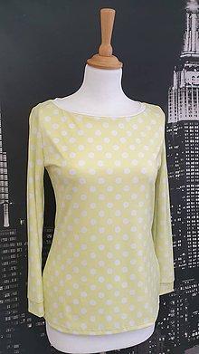 Tričká - Žlté bodkované tričko veľ.36 - 11523220_