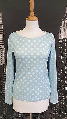 Tričká - Modré bodkované tričko veľ.36 - 11523231_