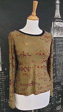 Tričká - Khaki tričko s lesklou potlačou - 11523254_