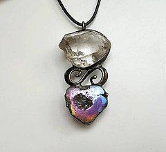 Náhrdelníky - Cínový šperk s minerálmi - 11522042_