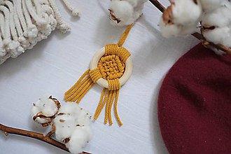 """Náhrdelníky - macramé náhrdelník """"v kruhu """"mustard - 11521130_"""