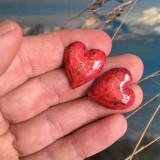 Náušnice - Červené srdcušky - 11523847_