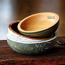 Nádoby - Set drevených bukových misiek olivová - 11525012_