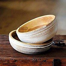 Nádoby - Set drevených dubových misiek biela - 11525062_