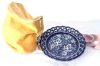 Nádoby - Kobaltový dvojradový čipkovaný tanier - 11523562_