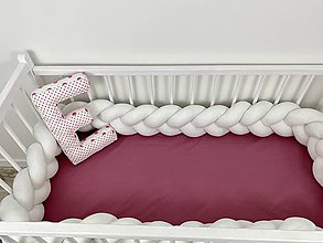 Textil - Detský mantinel pletený korbáčik biely - 11525607_