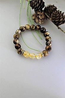 Náramky - Prírodný náramok citrín a achát leopard - 11524948_