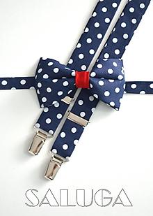 Doplnky - Retro bodkovaný motýlik a traky - pánsky - na guľky - tmavo modrý - 11526192_