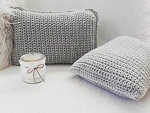 Úžitkový textil - Háčkované vankúše SET šedá svetlá - 11523856_