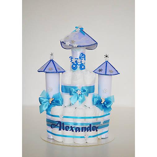 Plienková torta ZÁMOK - modrý