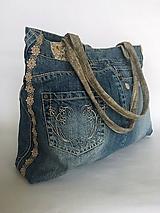 Iné tašky - Riflová taška s kvietkami - 11525619_