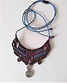 Náhrdelníky - Makramé náhrdelník fuchsia - 11523968_